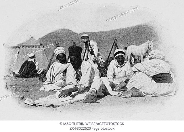 French Foureau-Lamy expedition in Chad in 1900, Expedition camp, Picture from the French weekly newspaper l'Illustration, 9th September 1900