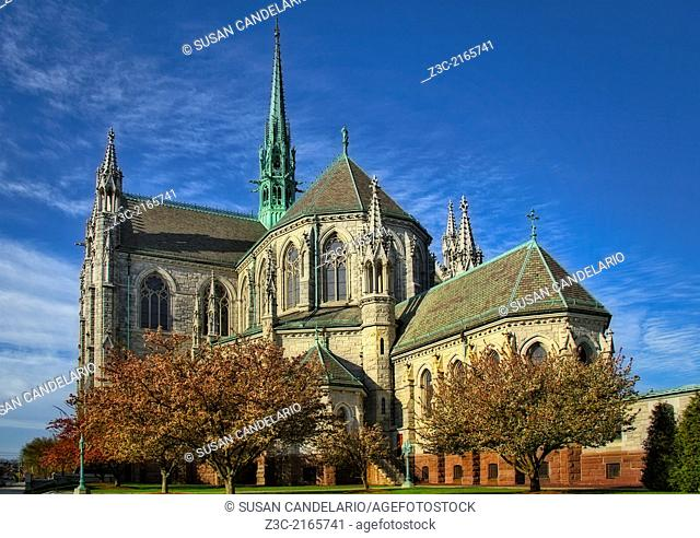 An early morning exterior view of the Cathedral Basilica of the Sacred Heart located in Newark, New Jersey