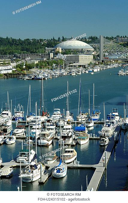Tacoma, WA, Washington, Puget Sound, Thea Foss Waterway, marina, Tacoma Dome and Exhibition Hall, SR 509 Cable-stayed Bridge
