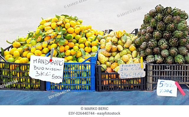 Fruits and Vegetables at Street Market Stall