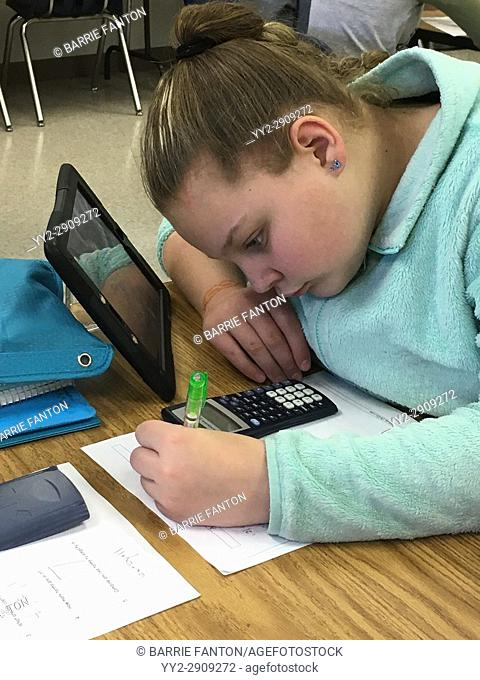 6th Grade Girl Working on Math Problem Using Scientific Calculator, Wellsville, New York, USA
