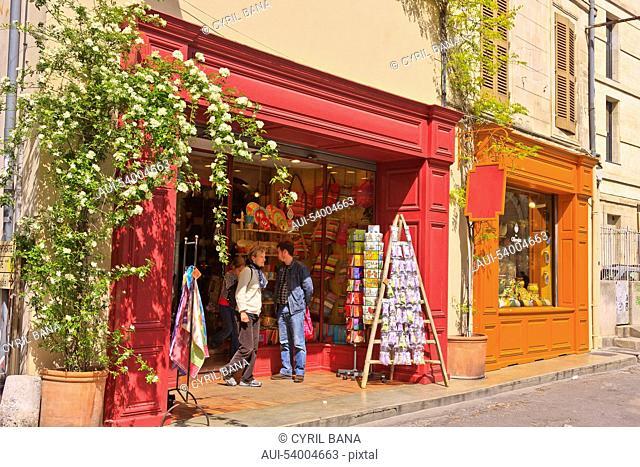 France, Arles, colorful shops