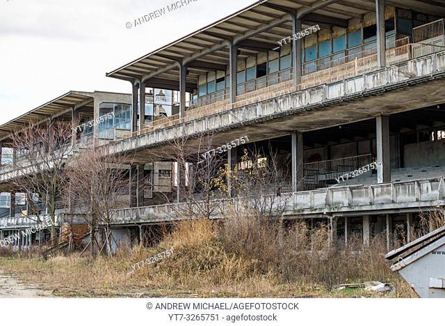 Derelict stands of Trabrennbahn Krieau (Krieau Race Track) is a horse racing track in Leopoldstadt district, Vienna, Austria