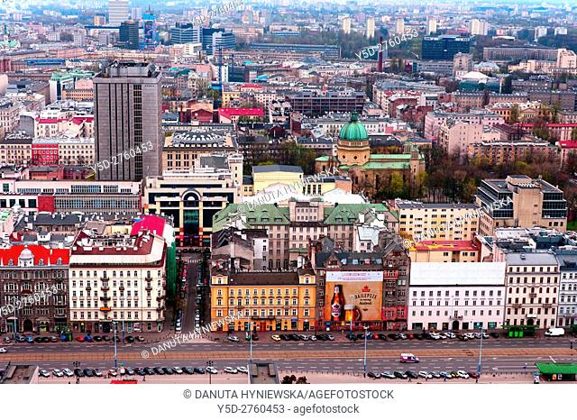 Panorama of Srodmiescie district of Warsaw in direction Srodmiescie Poludniowe - South Downtown, city center of Polish capital