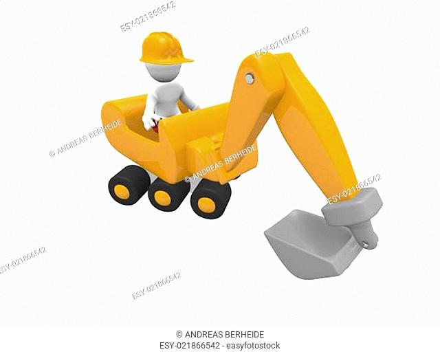 Construction worker with a yellow digger, 3d image
