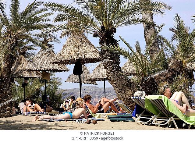 BEACH OF PALMERAIE DE VAI, CRETE, GREECE