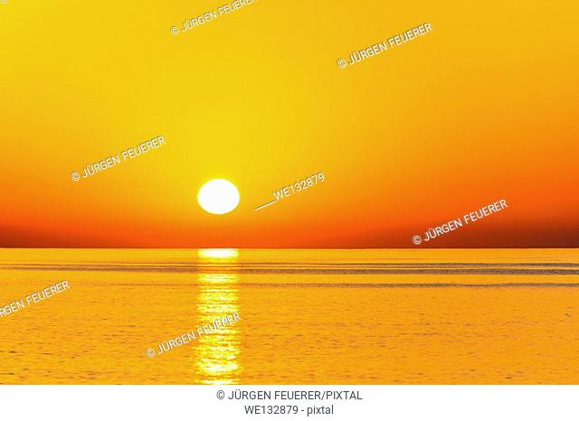 Sunrise above the ocean at the beach of Tiwi, Sultanate of Oman