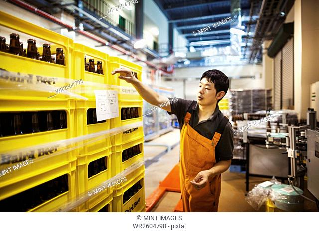 Worker labelling yellow plastic crates with beer bottles in a brewery