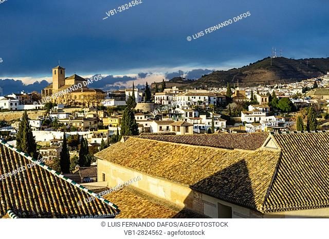 San Cristobal church and overview of the Unesco listed Albaicin quarter in Granada, Andalusia, Spain
