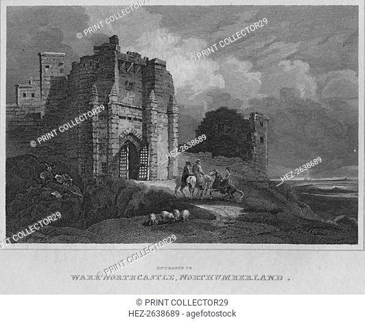'Entrance to Warkworth Castle, Northumberland', 1814. Artist: John Greig