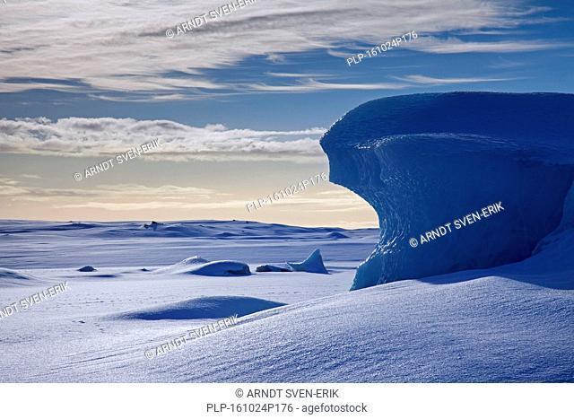 Ice formations in the Fjallsárlón Glacier Lagoon, glacial lake in winter, Iceland