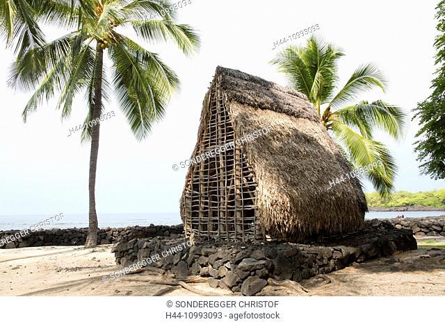 Big Island, Kaloko Honokohau, National, Historical park, Big Island, USA, Hawaii, America, straw hut