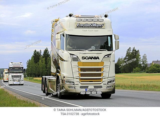 URJALA, FINLAND - AUGUST 9, 2018: Customised Scania SXL 500 truck of Larod Akeri, Sweden, in convoy to Power Truck Show 2018, Finland