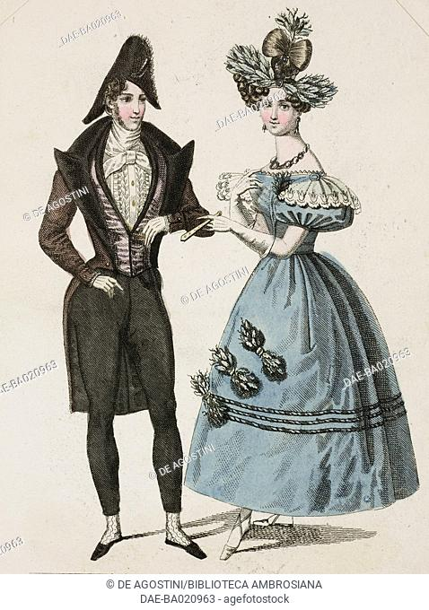 Woman wearing a blue dress with puffed sleeves and vegetal decorations picked up in her elaborate hairstyle, and a man wearing a fromal suit and cocked hat