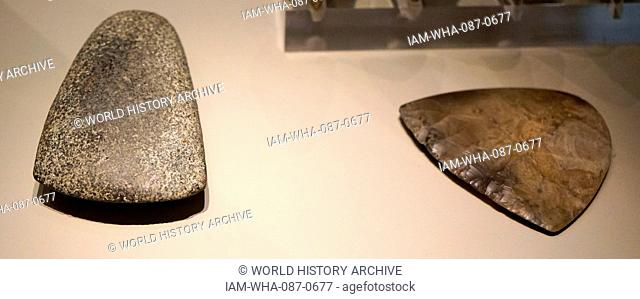 Late Neolithic axe heads 3000-2000 BC, Found at Great Baddow, England; stone and flint
