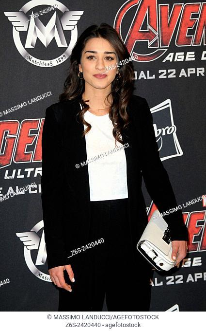 simona tabasco; tabasco; actress ; celebrities; 2015;rome; italy;event; red carpet ; avengers, age of ultron