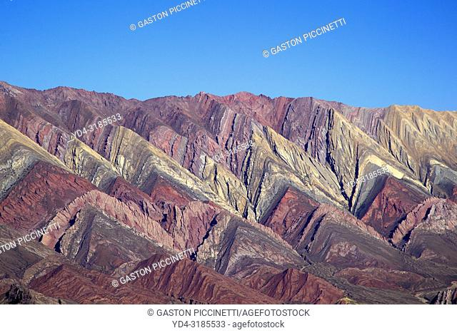 Hornocal, Jujuy, Argentina. The Serranía del Hornocal is a geological formation that stands out for its different shades of colors