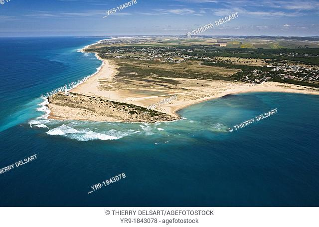 Trafalgar's lighthouse, Caños de Meca, Zahora beach on the left and Caños's duna on the right, El Palmar and Conil de la Frontera in the back  aerial view Cádiz...