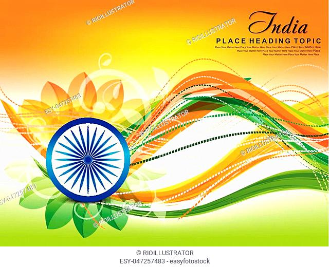 indian republic day wave abstract background vector illustration