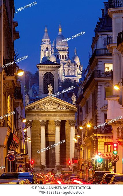 Twilight over Notre Dame de Lorette with Basilique du Sacre Coeur beyond, Paris Ile de France, France