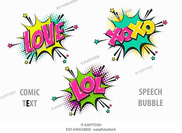 Love xoxo lol pop art style set hand drawn sound effects template comics book text speech bubble. Halftone dot background