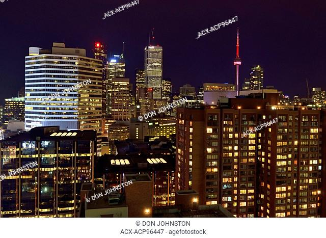 Downtown Toronto at night- from the Eaton Chelsea Hotel (27th floor), Toronto, Ontario, Canada