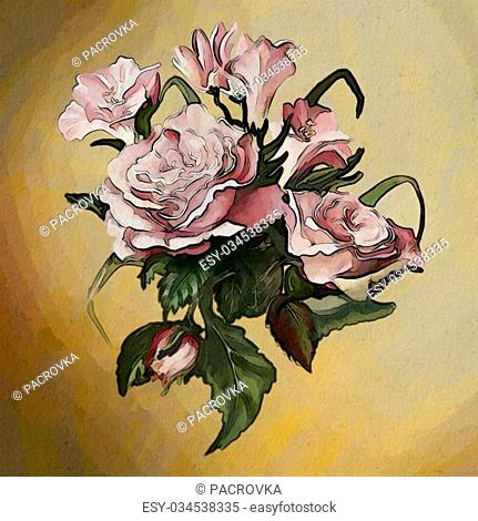 a luxurious collection of watercolor roses, with elements of splatter paint