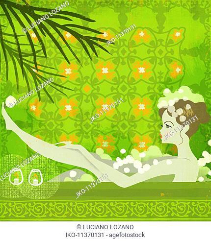 Young woman relaxing in bubble bath as Aquarius zodiac sign