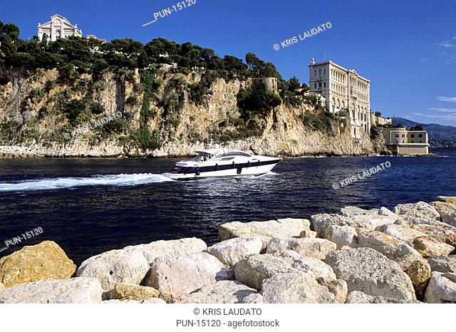 The cathedral of Monaco and the famous oceanographic museum, France