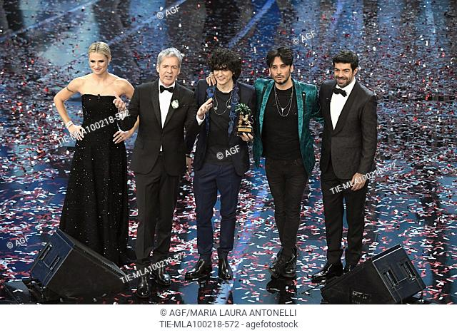 Claudio Baglioni, Michelle Hunziker, Pierfrancesco Favino and the winners Ermal Meta and Fabrizio Moro during Sanremo Italian Music Festival, Sanremo