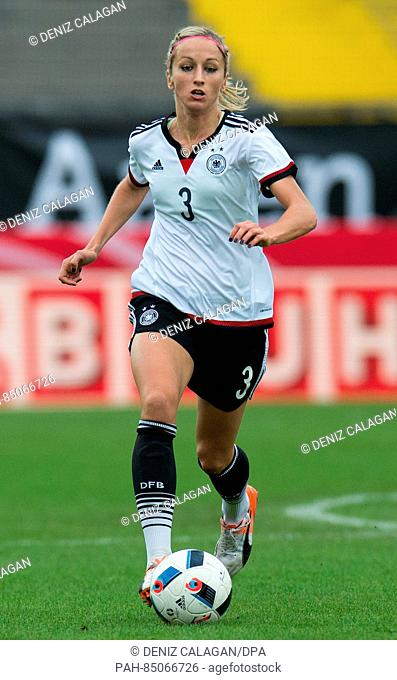 Germany's Kathrin Hendrich in action during the women's international soccer match between Germany and the Netherlands in theScholz Arena in Aalen, Germany