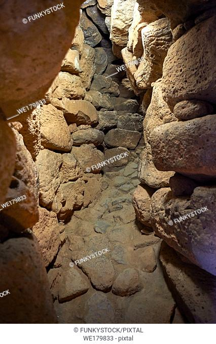 Picture and image of the prehistoric p[assageway inside the walls of Nuraghe Losa, archaeological site, Bronze age (14 -9 th century BC), Abbasanta