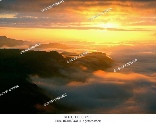 A temperature inversion over Eskdale in the Lake district at sunset UK