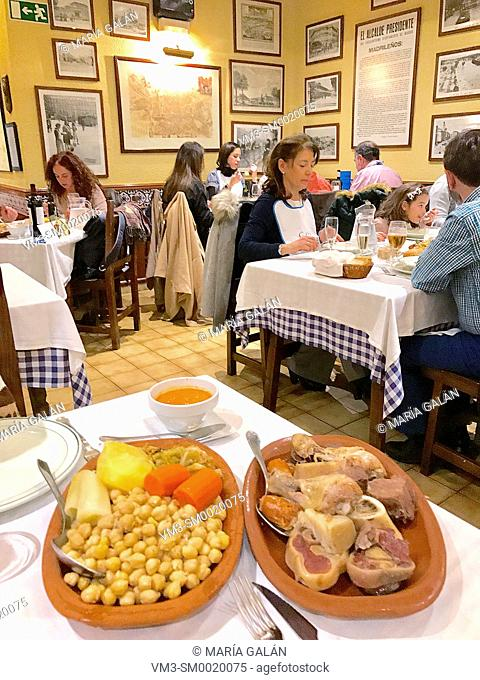 Cocido madrileño serving in a typical tavern. Madrid, Spain