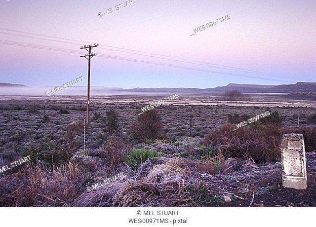 morning mist on Molteno Pass, near Karoo National Park, South Africa