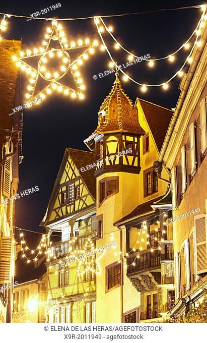 Maison Pfister (German Reinaissance) with Christmas lights at night. Colmar. Wine route. Haut-Rhin. Alsace. France