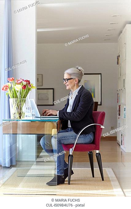 Senior businesswoman typing on laptop at home desk