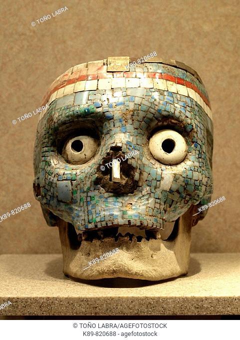 Aztec Turquoise skull. Museo Nacional de Antropologia. Ciudad de Mexico