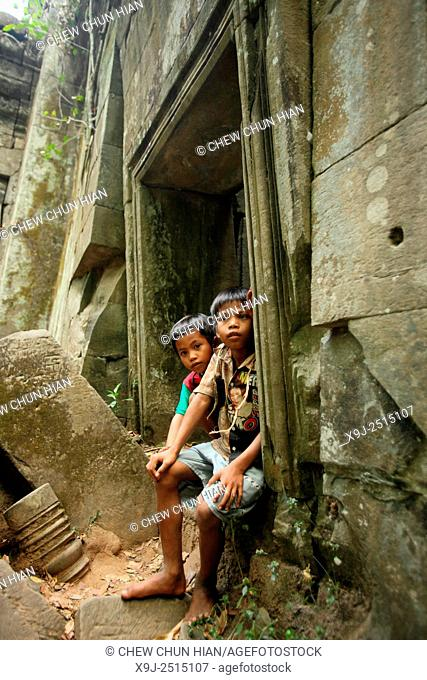 Local Boy at Beng Mealea Temple, UNESCO World Heritage Site, Siem Reap Province, Cambodia