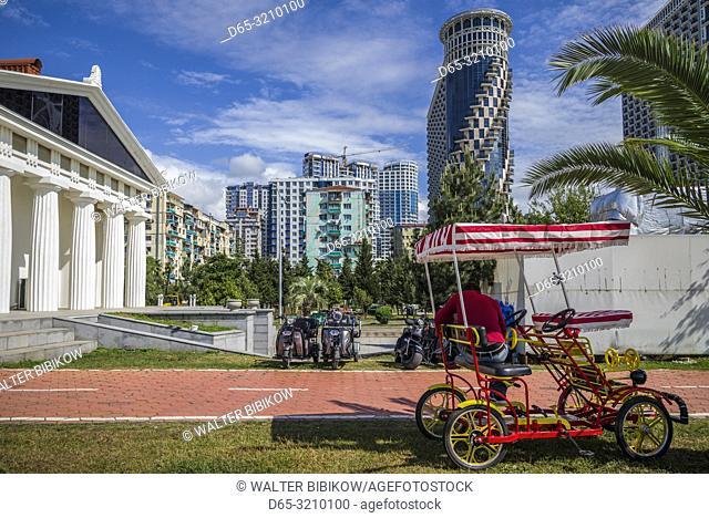 Georgia, Batumi, Batumi Boulevard seaside promenade, pedicab, NR