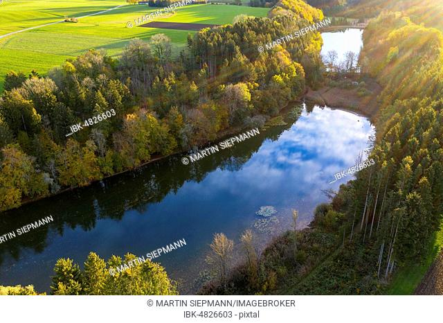 Thanninger Weiher, near Egling, Tölzer Land, drone recording, Upper Bavaria, Bavaria, Germany