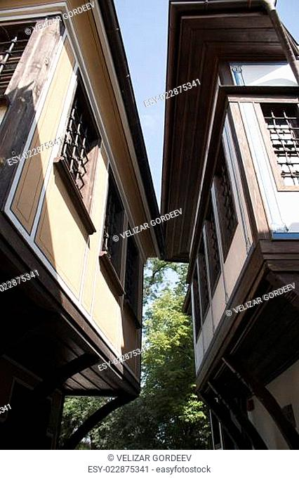 Old city, historical buildings in Plovdiv, Bulgaria