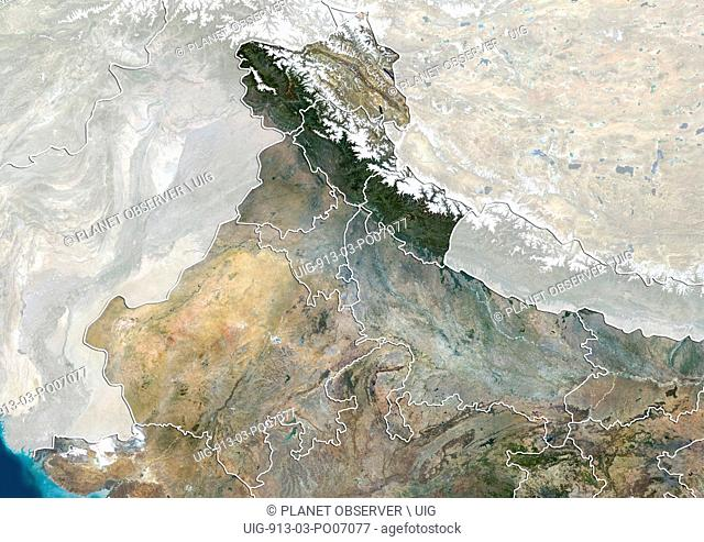 Satellite view of North India (with administrative boundaries and mask). This image was compiled from data acquired by Landsat 8 satellite in 2014