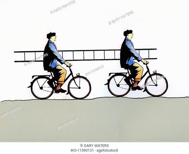 Similar men riding bikes and carrying ladder