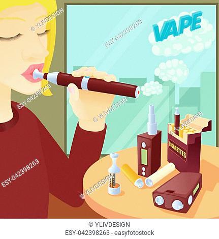 E-cigarettes concept. Cartoon illustration of e-cigarettes vector concept for web