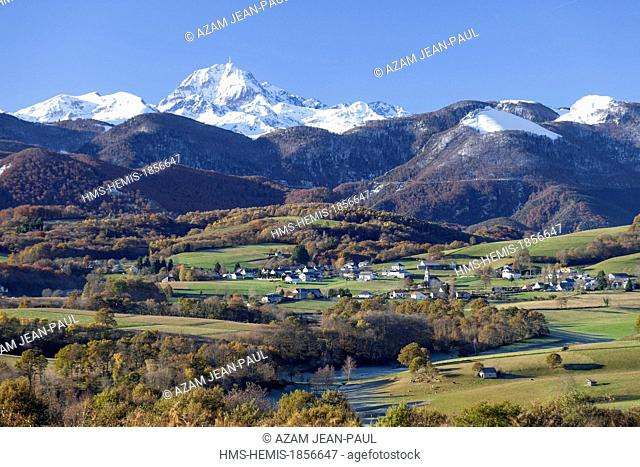 France, Hautes Pyrenees, Labastide and the Pic du Midi de Bigorre (2876 m)