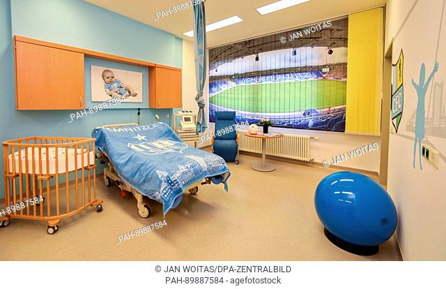 The new football themed delivery room is presented in the colours of FC Chemintz at the clinic in Chemnitz, Germany, 13 April 2017