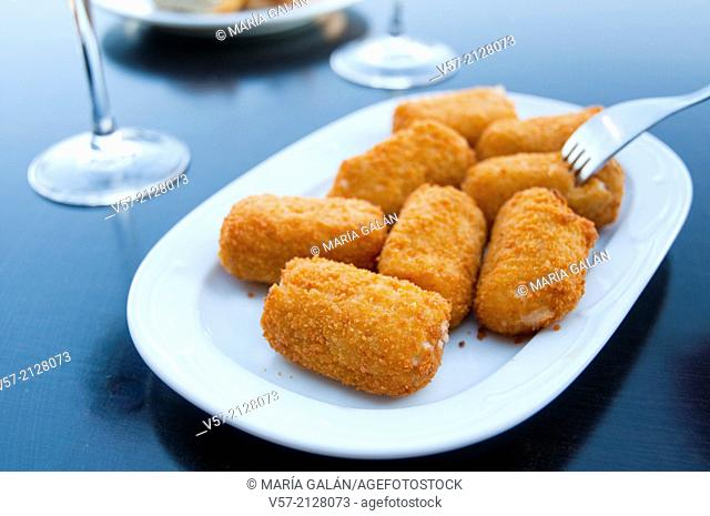 Spanish tapa: croquettes serving. Spain