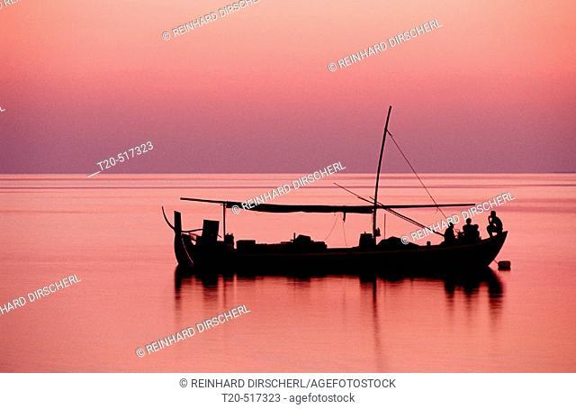 Fishing Boat, Dhoni, Maldives Islands, Ari Atoll, Maayafushi. Maldives Islands