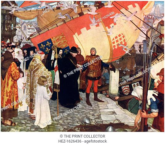 'The Departure of John and Sebastian Cabot from Bristol in 1497', c1900-1930. Found in the collection of Bristol City Museum and Art Gallery